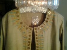 """NEW SILHOUETTES JACKET ETHNIC BLING GOLD SATIN LINING PLUS SIZE  BUST 60"""""""