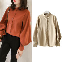 Women Solid Blouse Button Shirts Puff Long Sleeve Tops Loose Office Shirt Ca TRF