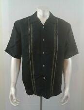 Monte Carlo Men's Black Ramie Blend Retro Short Sleeve Button Up Shirt Size M