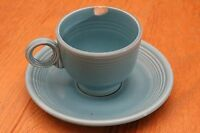 Vintage Fiestaware Turquoise Blue Cup and Saucer Homer Laughlin Fiesta