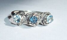 2 Aqua, 1 Topaz, 3.5mm in Detailed Roses USA Made Sterling Ring sz 7