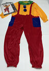 Boys Girls Clown Outfit Child Size L 12 14 Halloween Costume Red Gold Jumpsuit
