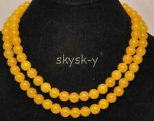 36 inches long 8mm natural Topaz Gems Yellow round beads Necklace AA