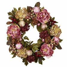 Nearly Natural 4930 Peony Hydrangea Wreath- 24-Inch- Autumn