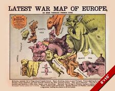 PRUSSIA & EUROPEAN WAR SATIRE MAP LATE 1800'S PAINTING ART REAL CANVAS PRINT