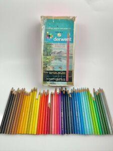46 x Vintage Derwent Cumberland No 19 Series 1930s Colour Pencils w/ Box