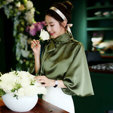 Stylish Office Lady Bow Tie Lantern Sleeve Loose Blouse - Army Green