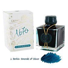 J.herbin 1670 Anniversary Fountain Pen Ink Shimmer Emerald of Chivor -New-50 ml