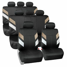 Neoprene 3 Row 8 Seaters Seat Covers For SUV Van Full Set Beige Black