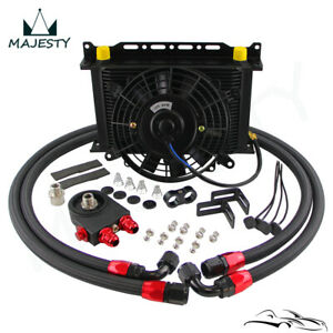 "AN10 25 Row Oil Cooler Thermostat 85 Degrees Sandwich Plate Kit+7"" Fan Kit BK"