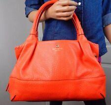KATE SPADE Southport Avenue Stevie Flame Orange Leather Shoulder Bag Tote Purse