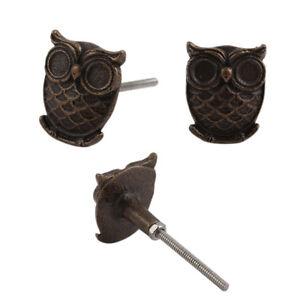 Iron Owl Antique Bronze Cabinet Knob   Decorative Metal Drawer Handle Pull 17