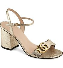 Gucci Marmont Gold Metallic Leather Ankle Strap Block Heel Sandal Mule Pump 41