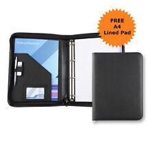 A4 Zipped Conference Folder 25mm RING BINDER Presenter Filofax Leather Portfolio