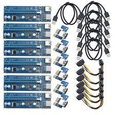 6x USB 3.0 PCI-e 1x-16x extender Riser mapa adaptador power cable btc Mining