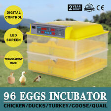 Poultry Egg Incubator Automatic 96 Egg Digital Temp Control Chicken Duck Hatcher