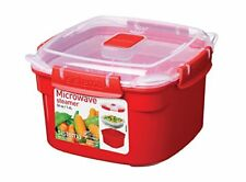 Sistema Microwave Small Steamer with Removable Steamer Basket, 1.4 L - Red Clear