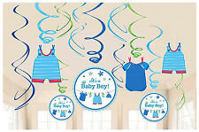 Shower with Love Baby Boy Value Pack Foil Swirl Decorations Party Supplies 12ct