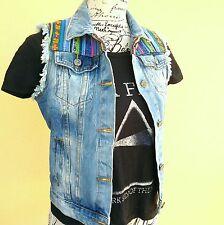 Smanicato gilet jeans denim S etnico boho punk rock primavera estate fashion