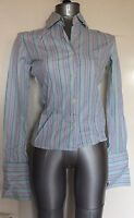 T.M.LEWIN, SIZE 6, GREEN & MULTI COLOURED STRIPED LONG SLEEVE SHIRT, 100% COTTON