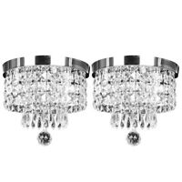 2x Elegant Crystal Ceiling Lamp Modern Pendant Light Fixture Chandelier Lighting