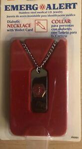 Medical Diabetic Alert Dog Tag Emergency ID Necklace Jewelry Stainless Steel NIP