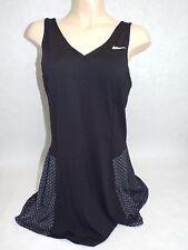 New Womens Large Nike Tennis Dri Fit Stay Cool Black Dress $90 598378-010