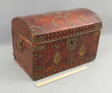 Small 18thC Antique Georgian Leather Trunk Chest Box, Brass Studs, NR