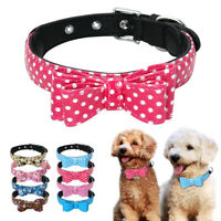 Soft Leather Bow Tie Dog Collar for Puppy Pet Cat Chihuahua Yorkshire XS-M
