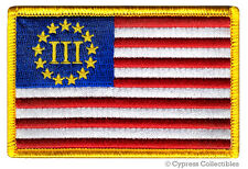 III PERCENTER FLAG PATCH embroidered iron-on SECOND AMENDMENT 3% GUN RIGHTS NOW