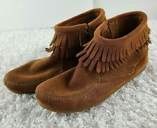 Minnetonka brown double fringe suede ankle booties KIDS SIZE 4 moccasins