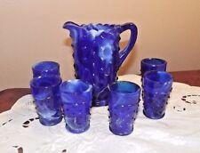 COBALT BLUE & WHITE MARBLE **MINI GLASS PITCHER & 6 TUMBLERS**WETZEL