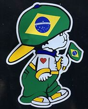 Brazil Boy holding Brasil National Flag Car Decal Sticker
