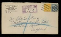 Registered to England Postage Stamps & Indian Relics - Del Rio Tennessee - 1939