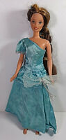 Vintage Barbie Doll Clothing Dress Mattel Blue Gown Bow One Shoulder Ruffle Maxi