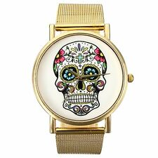 Womens Punk Skull Printed Golden Mesh Alloy Band Wrist Watch LW
