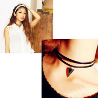 Stylish Gothic Cord Choker Charm Retro Necklace Leather Pendant Bib Chain