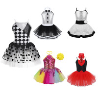 Toddlers Kids Sparkly Ballet Dance Leotard Dress Girls Shiny  Jazz Latin Costume