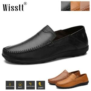 Wisstt Mens Casual Driving Antiskid Lazy Loafers Leather Slip On Moccasins Shoes