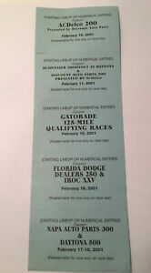 Daytona 500 Starting Lineup Numerical Entries Coupons 2001 Earnhardt's Last Race