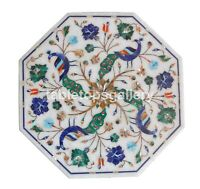 """15"""" Malachite Lapis Peacock & Floral Inlay Marble Top Coffee Table Decors W269"""