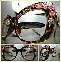 OVERSIZED RETRO Style Clear Lens EYE GLASSES Tortoise Frame Gold & Pink Floral