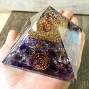 X- LargeLG75mm Amethyst Crystal Orgone Chakra HealPyramid EMFProtection FengShui