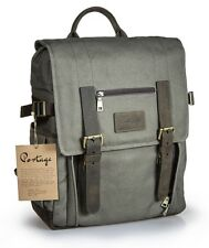 Waxed Canvas with Genuine Leather Camera Laptop Backpack