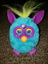 Furby 2012 Blue Teal Purple Ears and Feet Yellow Hair and Tail Orange Mouth