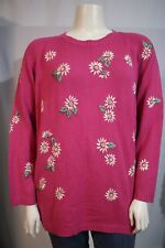 Quacker Factory Woman Plus 1X Bright Pink Daisy Embroidered Crewneck Sweater