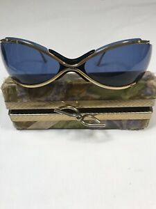 Renauld Of France Bikini Sunglasses Blue And Gold With Case