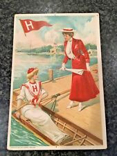 Vintage 1903 Harvard Crew Rowing Booster Girls Postcard by Joseph Tetlow