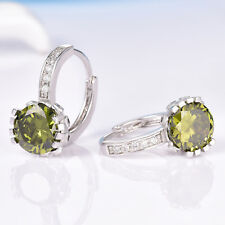 Elegant Huggie Peridot Green Crystal Silver Gold Filled Women Hoop Earrings BOX