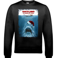 Santa JAWS Christmas JUMPER, Ugly Mens Scuba Diving Sweatshirt Unisex Movie Xmas